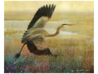 Foggy Heron-Chris Vest-Art Print