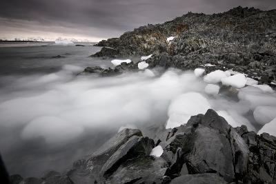Foggy Landscape of Ice Blocks on a Rocky Beach-Jim Richardson-Photographic Print