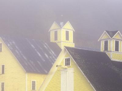 Foggy Morning and Yellow Barn near White River Junction, Vermont, USA-Darrell Gulin-Photographic Print