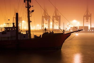 Foggy Morning at the Port in Hamburg, Germany-Christina Czybik-Photographic Print