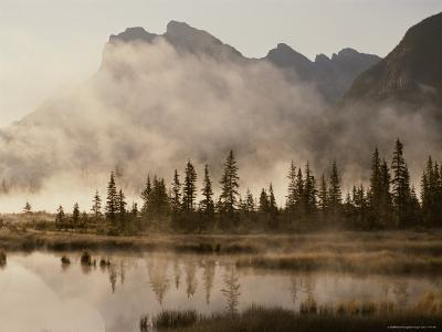Foggy Sunrise over the Vermilion Lakes-Raymond Gehman-Photographic Print