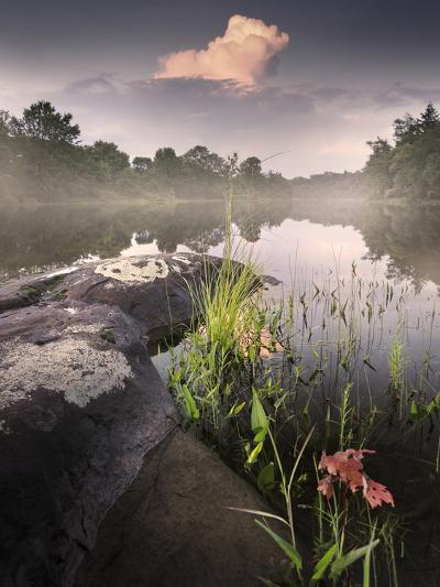 Foggy Sunset beside a Lake-Tyler Gray-Photographic Print