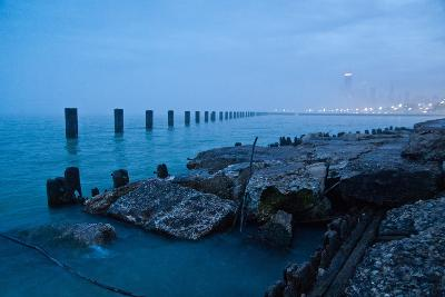 Foggy View of Chicago from Lakeshore-Megan Ahrens-Photographic Print