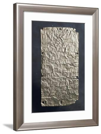 Foil with Etruscan Inscription, Gold, 18,5 Cm, Found in Pyrgi, Lazio, Italy--Framed Giclee Print