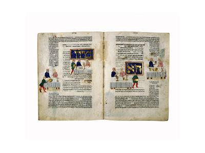 Fol.156V-157 Passover, from 'The Rothschild Miscellany', Northern Italy, C.1450-80--Giclee Print