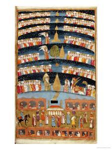 """Fol 35B Mohammed's Paradise, Miniature from """"The History of Mohammed,"""" 1030"""