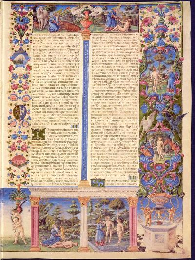 Fol.6R Genesis. Creation of Adam and Eve, from the Borso D'Este Bible. Vol. 1 (Vellum)-Italian-Giclee Print