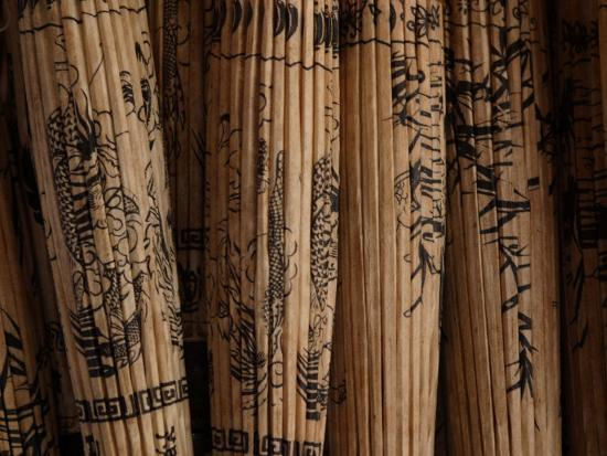 Folded Ornamental Parasols with Painted Patterns, Thailand--Photographic Print