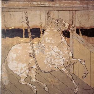 Folding Screen Depicting a Stable Scene (Detail)