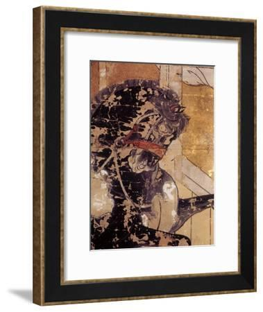 Folding Screen Depicting a Stable Scene (Detail)--Framed Giclee Print