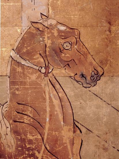 Folding Screen Depicting a Stable Scene (Detail)--Giclee Print