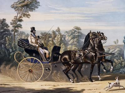 Folding Top Carriage Pulled by Two Horses--Giclee Print