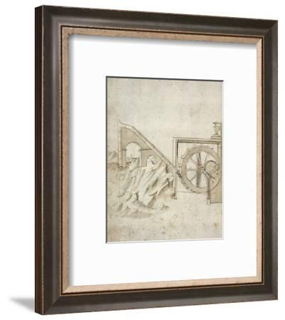 Folio 13: mill powered by water from siphon-Francesco di Giorgio Martini-Framed Art Print