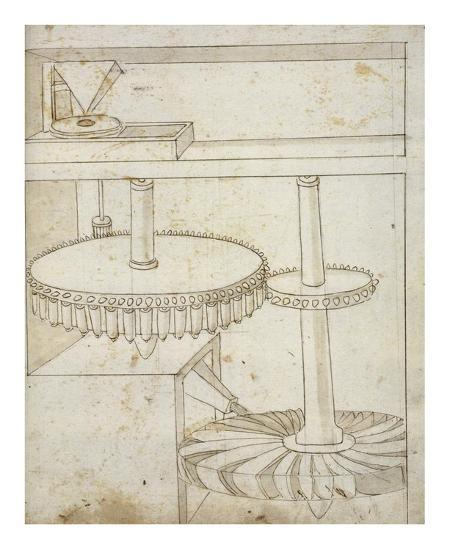 Folio 44: mill powered by horizontal wheel-Francesco di Giorgio Martini-Art Print