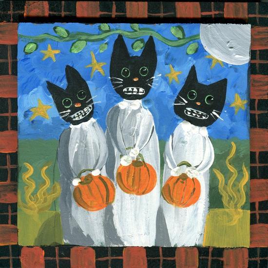 Folk Art Black Cats Halloween-sylvia pimental-Art Print