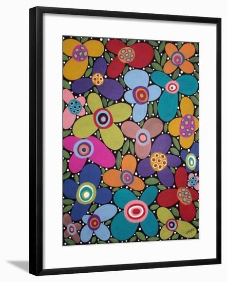 Folk Art Blooms-Karla Gerard-Framed Giclee Print