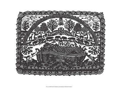 Folk Art Silhouette of Noah's Ark--Art Print