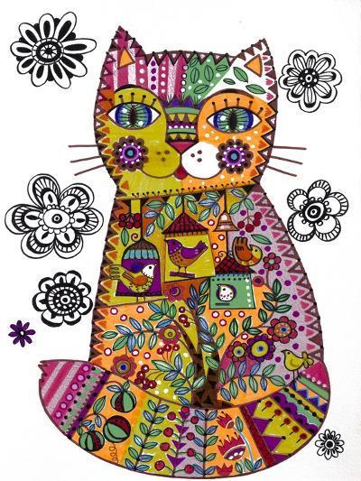 Folk Cat 3-Oxana Zaika-Giclee Print