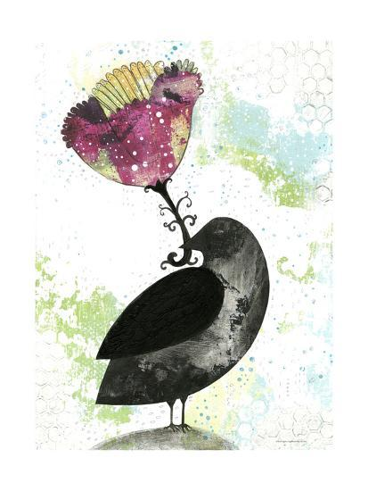 Folk Crow with Flower-Sarah Ogren-Art Print