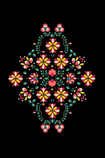 Folk Flowers I-Myriam Tebbakha-Giclee Print