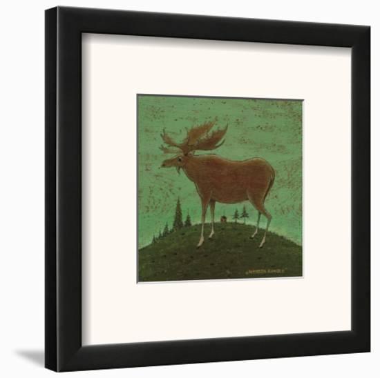 folk moose framed art print by warren kimble | art.com
