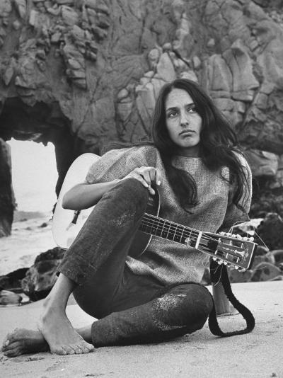 Folk Singer Joan Baez on the Beach with Guitar Near Her Home-Ralph Crane-Premium Photographic Print