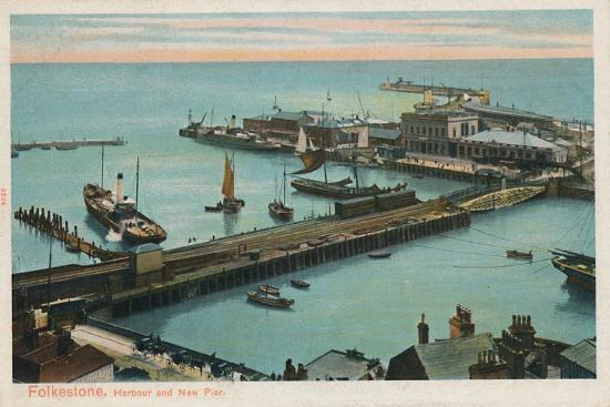 'Folkestone. Harbour and New Pier', late 19th-early 20th century-Unknown-Giclee Print