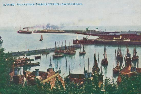 'Folkestone: Turbine Steamer Leaving Harbour, late 19th-early 20th century-Unknown-Giclee Print
