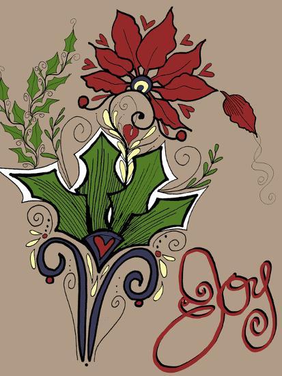 Folklore Holly Bouquet-Cyndi Lou-Giclee Print