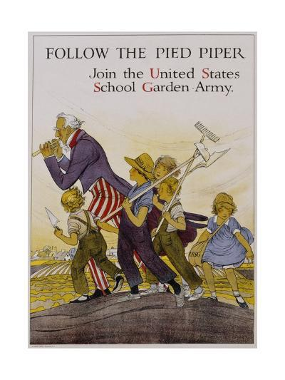 Follow the Pied Piper United States School Garden Poster--Giclee Print