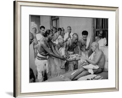 Followers Offering Fruits to Sri Ramana Maharshi--Framed Premium Photographic Print