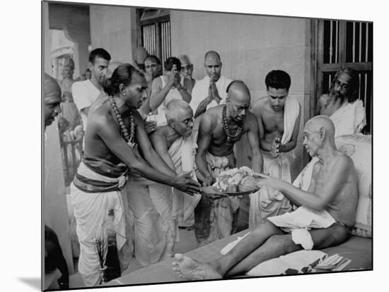 Followers Offering Fruits to Sri Ramana Maharshi--Mounted Premium Photographic Print