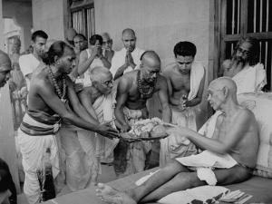 Followers Offering Fruits to Sri Ramana Maharshi