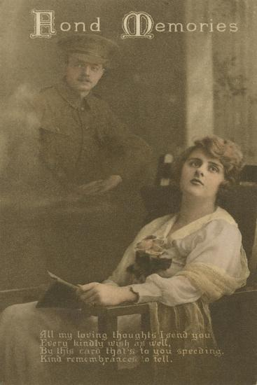 Fond Memories, Romantic Postcard Sent from a Soldier to His Sweetheart--Giclee Print