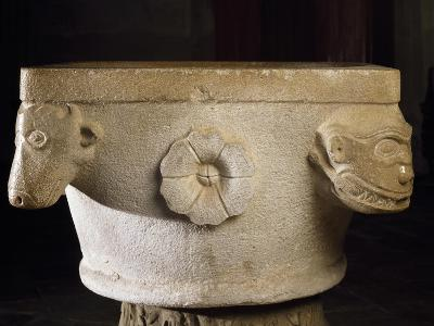 Font with Roman Capital Ruins, Cathedral of Asti--Giclee Print