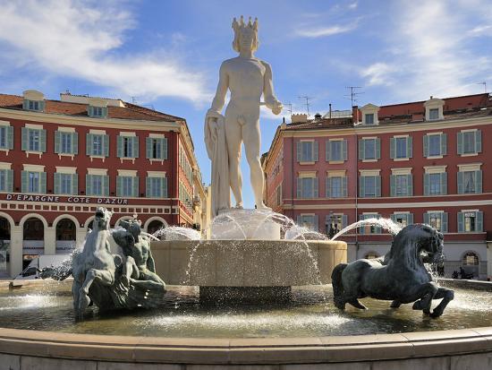 Fontaine Du Soleil (Fountain of the Sun), Place Massena, Nice, Alpes Maritimes, Provence, Cote D'Az-Peter Richardson-Photographic Print