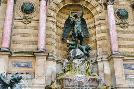 Fontaine Saint-Michel, Left Bank, Paris, France-Russ Bishop-Photographic Print
