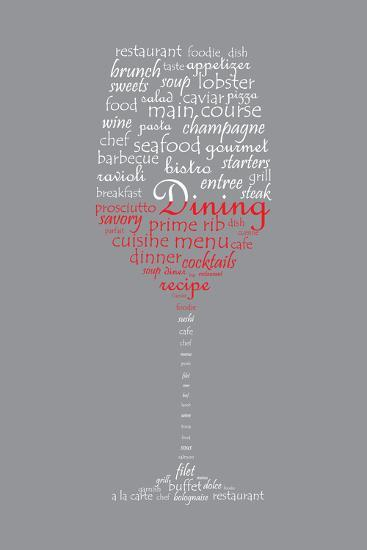 Food and Dining Concept on a Wine Glass Shaped Word Collage-shutter4543-Art Print