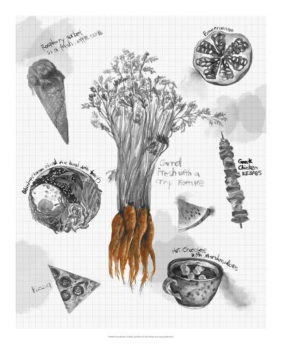 Food Sketches in Black and White I-Julie Silver-Giclee Print