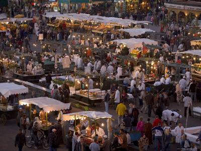 Food Stalls in the Evening, Djemaa El Fna, Marrakesh, Morocco, North Africa, Africa-Gavin Hellier-Photographic Print