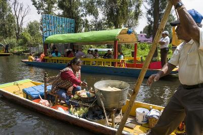 Food Vendor at the Floating Gardens in Xochimilco-John Woodworth-Photographic Print