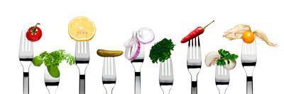 Variety of Vegetarian Food on Forks