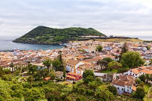 View of the City of Angra Do Heroismo with Mount Brazil on Terceira Island by foodbytes