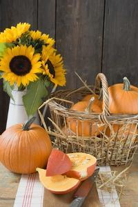 Rustic Pumpkin Still Life with Sunflowers by Foodcollection