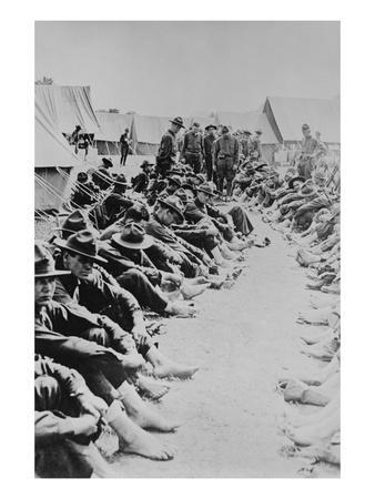 Foot Inspection, Soldiers Sit on Ground While Doctors Prepare to Examine a Full Unit at Once--Art Print