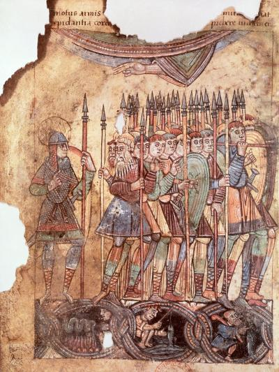 "Foot Soldiers in the Crusades, from ""La Vie de Saint Aubin D'Angers""--Giclee Print"