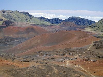 Foot Trail Through Haleakala Volcano Crater Winds Between Red Cinder Cones, Maui, Hawaiian Islands-Tony Waltham-Photographic Print