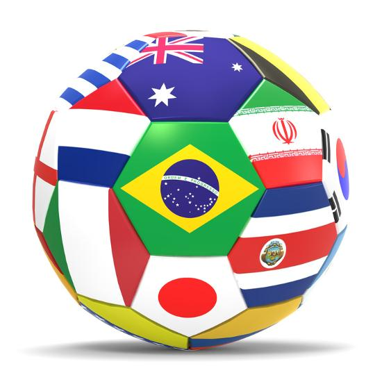 football and flags representing all countries participating in
