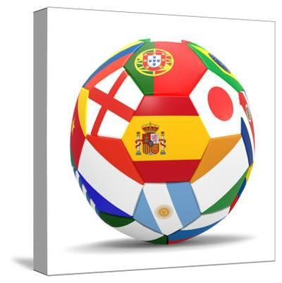 Football and Flags Representing All Countries Participating in Football World Cup in Brazil in 2014-paul prescott-Stretched Canvas Print