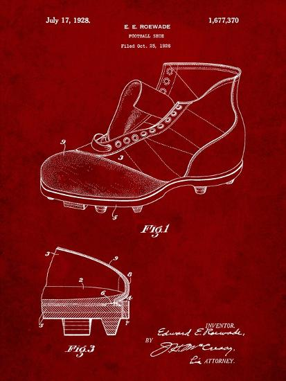 Football Cleat 1928 Patent-Cole Borders-Art Print